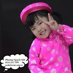 Áo dài trẻ em - Họa tiết đồng hồng