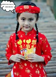 Áo dài trẻ em - Họa tiết đồng xu lá trúc đỏ