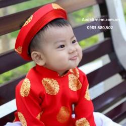 Áo dài trẻ em - Họa tiết đồng xu bé trai Đỏ