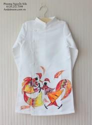 Áo dài vẽ cho bé hình đôi gà trọi nhau màu trắng