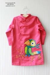 Áo dài vẽ cho bé trai VT13 vẽ con vẹt