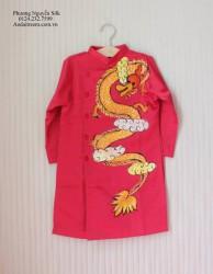 Áo dài vẽ tay cho bé trai hình con rồng Thăng Long màu đỏ