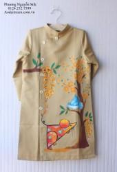 Áo dài vẽ tay cho bé trai con chuột cành cây