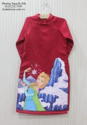 Áo dài vẽ cho bé gái hình công chúa elsa đỏ