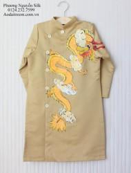 Áo dài vẽ cho bé trai hình rồng thăng long vàng đồng