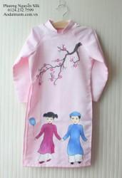 Áo dài vẽ cho bé gái chủ đề tết 2
