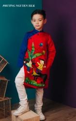 Áo dài trẻ em mẫu cách tân cho bé trai BT1702