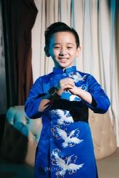 Áo dài trẻ em mẫu cách tân cho bé trai BT1708