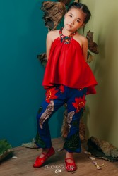 Áo dài yếm cho bé gái YBG1701