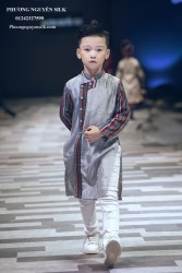 Áo dài bé trai Tafta bạc fa  thổ cẩm XTRC.03