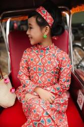 Áo dài trẻ em sét cô ba màu đỏ gạch cho bé gái