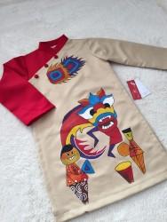 Áo dài trẻ em mẫu vẽ em bé múa lân đồng fa đỏ