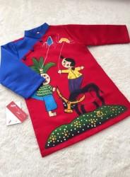 Áo dài trẻ em mẫu vẽ chăn trâu cho bé trai