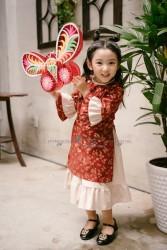 Áo dài trẻ em Phương Nguyễn Silk - Áo dài cách tân cho bé gái Trung thu 2018- Thô hoa đào nhí phối Linen kem