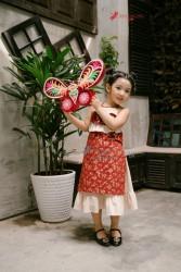 Áo dài trẻ em Phương Nguyễn Silk - Áo dài yếm cho bé gái Trung thu 2018- Thô hoa đào nhí phối Linen kem