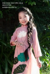 Áo dài trẻ em cách tân cho bé gái Voan lụa tím thêu Sen - 2018