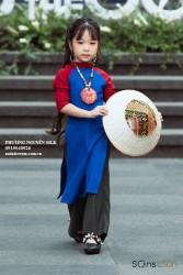 Sét áo dài linen xanh phối đỏ cho bé gái