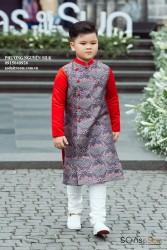 Áo dài gấm cách tân vân đỏ cho bé trai