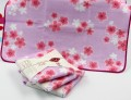 Khăn tắm Nhật Nissen mẫu hoa anh đào (màu hồng tím)