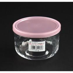 Hộp thủy tinh có nắp đậy loại màu hồng tròn 420ml