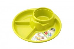 Khay ăn 3 ngăn cho bé có kèm khay để cốc và khay để thìa dĩa - màu xanh