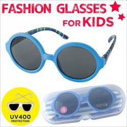 Kính râm chống tia UV cho bé  từ 4 - 14 tuổi (gọng xanh tròn)