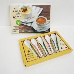 Bộ 5 thìa uống cà phê bằng sứ (kèm hộp)