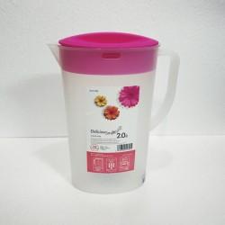 Bình đựng nước cao cấp 2L dáng ovan nắp hồng