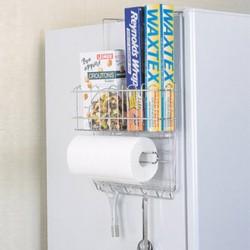 Giá đựng đồ 3 tầng bằng inox treo hông tủ lạnh