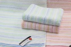 Khăn tắm Nhật Nissen mẫu sọc nhỏ (màu cam, xanh) (size to)