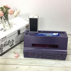 Hộp đựng giấy ăn kèm khay để bút, điện thoại cao cấp