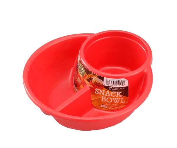Khay ăn chia 2 ngăn sâu lòng kèm khay để cốc màu đỏ